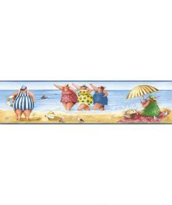KITCHEN & BATH FAT LADIES ON THE BEACH BLUE WALLPAPER