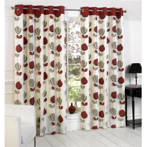 Curtains Ideas burgundy eyelet curtains : Lotti Modern Floral Print Eyelet Curtains, Cream / Red | Home ...