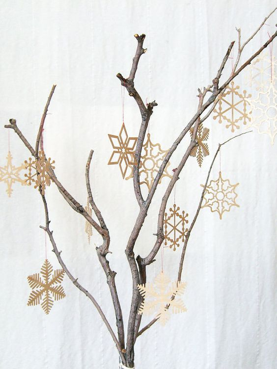 Delicate wooden snowflake christmas tree ornament trees