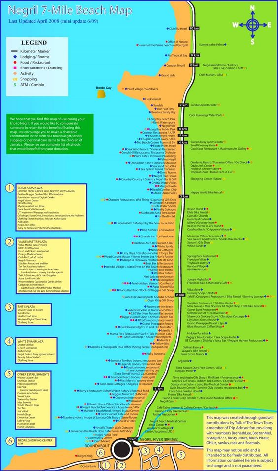 Negril hotels and sightseeings map Maps Pinterest Negril and City