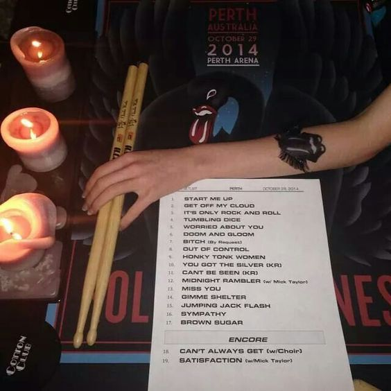Perth set list for first concert 10/29/2014