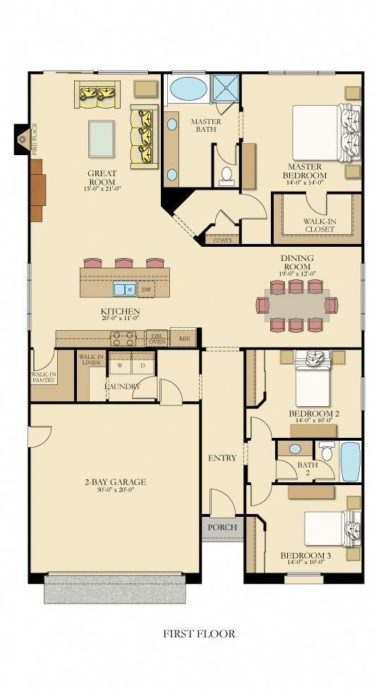 One Level Floor Plan From Lennarinlandla Featuring 3 Bedrooms 2 Bathrooms A Gourmet Kitchen With A Walk I One Storey House New House Plans Dream House Plans