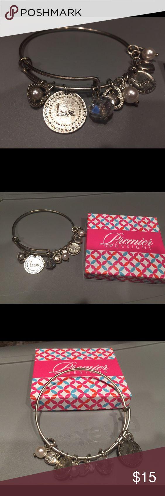 Premier Designs Love Bangle Bracelet EUC beautiful silver-plated Premier Designs bracelet. Similar to Alex & Ani style. Premier Designs Jewelry Bracelets