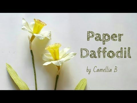 Diy How To Make Paper Narcissus Flowers Daffodil From Crepe Paper Narciso Hecho Con Papel Crepe Yo Paper Flowers Paper Flower Tutorial Paper Flowers Diy