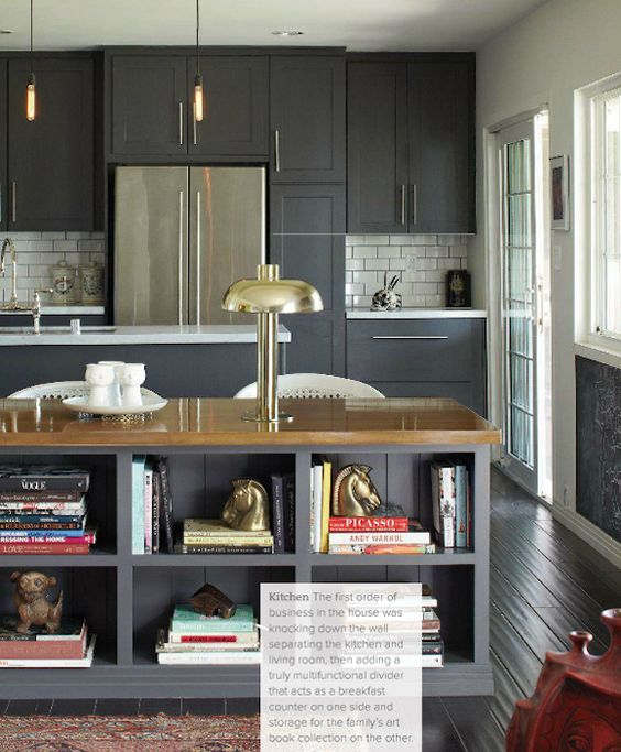 Charcoal kitchen cabinets extra large subway tiles with for Charcoal gray kitchen cabinets