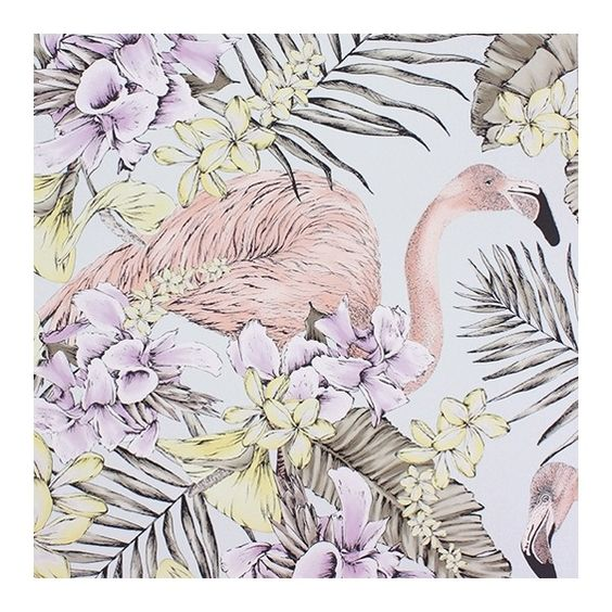 Flamingo Club Wallpaper ($125) ❤ liked on Polyvore featuring home, home decor, wallpaper, floral wallpaper, floral pattern wallpaper, pattern wallpaper, colorful pattern wallpaper and light purple wallpaper