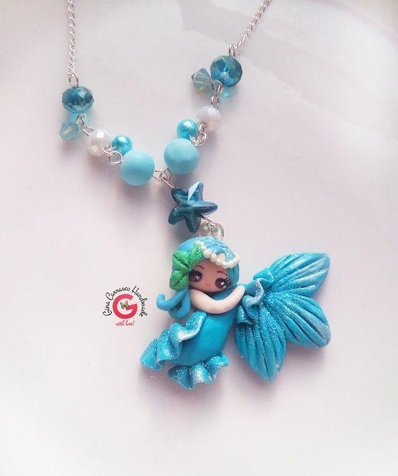 Meisjes sieraden, Mermaid ketting, cadeau voor een meisje, kawaii zeemeermin, chibi charme, meisjes sieraden, verjaardagsgift, zeemeermin ketting, meisjes cadeau