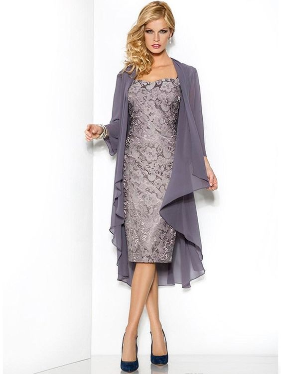 Sheath Column Square Sleeveless Lace Knee Length Satin Mother Of The Bride Dresses