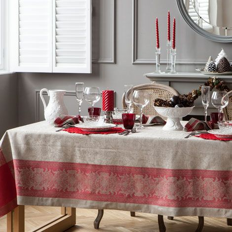 Nappe et serviettes de table jacquard lin zara home for Table zara home