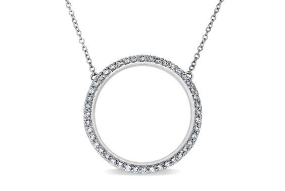 Circle Pendant with Pavé-Set Diamonds - in Platinum (0.44 CTW)