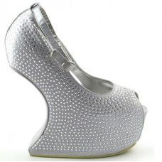 ESSEX GLAM GG9 SILVER DIAMANTE HEEL LESS MARY JANE SHOES   £19.99