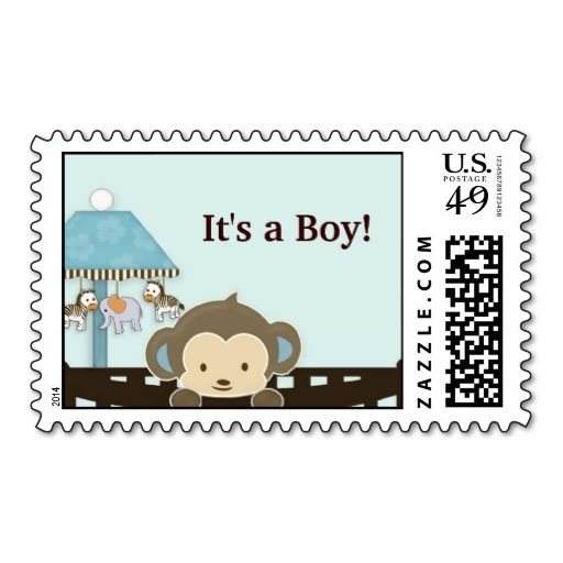 Monkey Baby Shower postage stamp - It's a Boy!. I love this design! It is available for customization or ready to buy as is. All you need is to add your business info to this template then place the order. It will ship within 24 hours. Just click the image to make your own!
