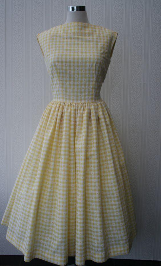 CUSTOM MADE Handmade 1950s inspired day dress. via Etsy.