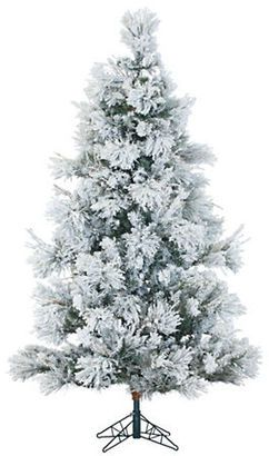 Fraser Hill Farms Multi-Color LED String Lit Flocked Snowy Pine Christmas Tree- 9 ft.
