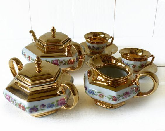Sada na kávu * bílý malovaný porcelán, zdobený zlatem ♥♥♥
