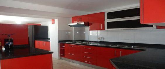 Elegantes muebles de madera para cocinas - Elegant red furniture for - muebles para cocina de madera
