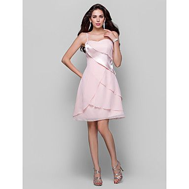 TS+Couture®+Cocktail+Party+/++Dress+-+Pearl+Pink+Plus+Sizes+/+Petite+A-line+/+Princess+Spaghetti+Straps+Short/Mini+Chiffon+/+Stretch+Satin+–+USD+$+79.99