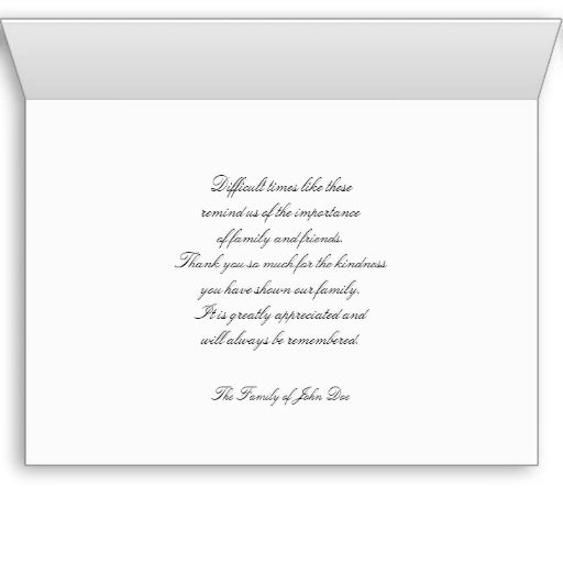 Sympathy Memorial Thank You Note Card -- Rose | Birthday, Parent's ...