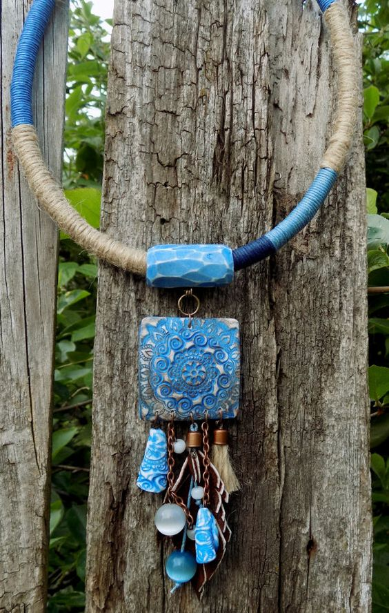 Klosje verklaring ketting Boho stijl etnische touw ketting blauw slabbetje…