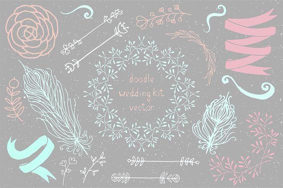 Hand draw doodle boho wedding kit by Sentimental postman on Creative Market