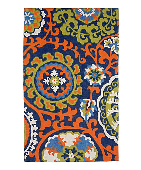 Look at this Light Blue & Orange Biloxi Hand-Loomed Rug on #zulily today!