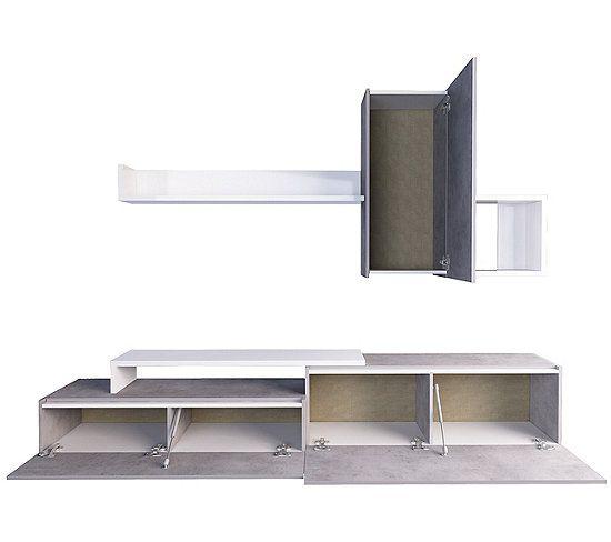 Meuble Tv Kastle Imitation Beton Et Blanc Brillant Meuble Tv But En 2020 Meuble Tv Rangement Meuble Tv Meuble Tv Design