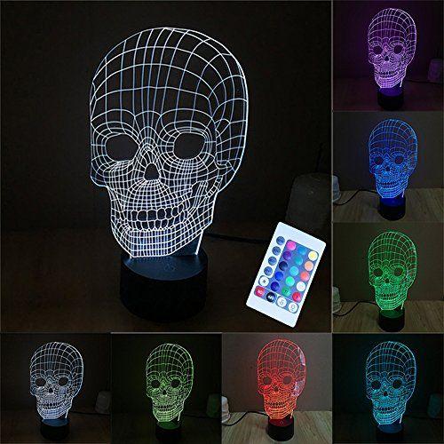 3d Led Lampe De Nuit Colorful Tete De Crane Forme Magical Illusion 3d Lampe Chambre Decoration Meilleur Cadeau Lu Veilleuse Led Lampes De Nuit Veilleuse Enfant