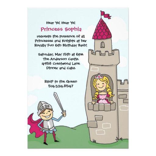 Knight Saves Princess Invitations: Blonde Hair