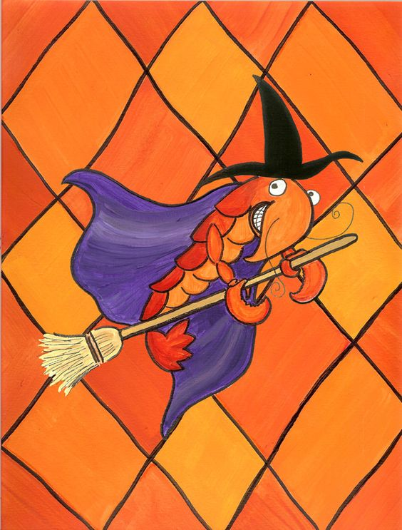Crawfish Witch Halloween 2-Sided Garden Flag