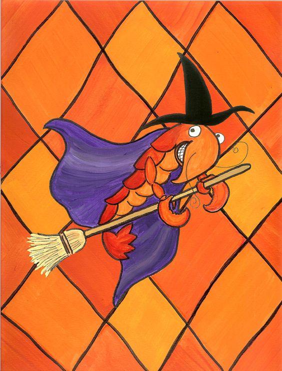 Crawfish Witch Halloween 2-Sided Garden Flag
