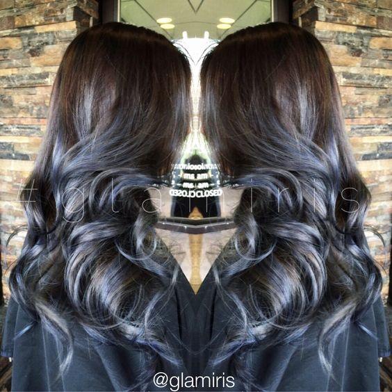 Smokey gray blue balayage ombre glamiris