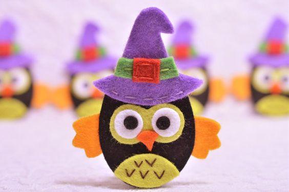 Conjunto de búhos de Halloween fieltros hecho a mano por AsecInc