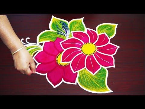 Simple Rangoli Designs For Aadi Festival Freehand Muggulu Designs Without Dot Colour Kolam Y Rangoli Designs Rangoli Designs Flower Simple Mehndi Designs