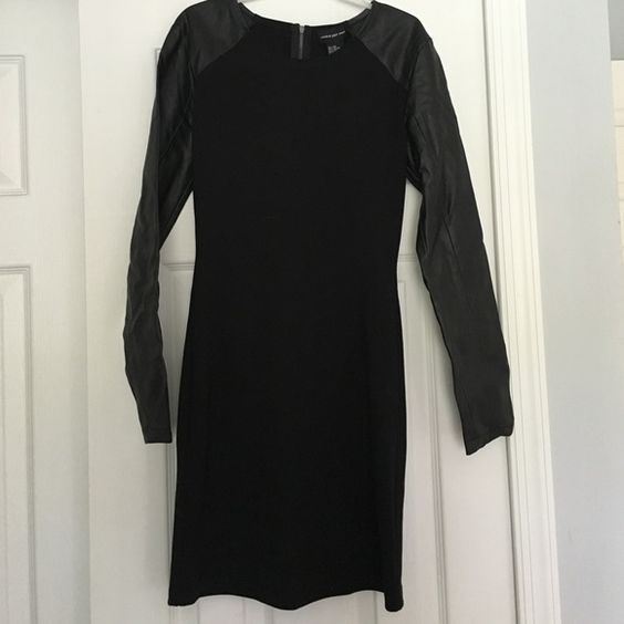 Black dress Black dress with faux leather sleeves Dresses Mini