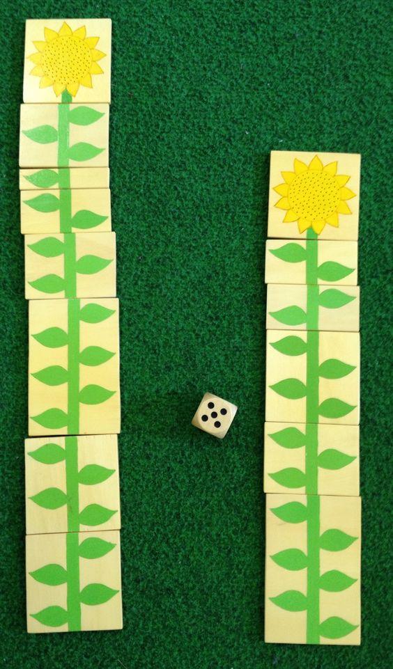 telspel met bloemblaadjes op karton blaadjes tekenen of