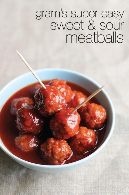 ... Easy Dinner Recipes, frozen cooked meatballs, jar Heinz chili sauce