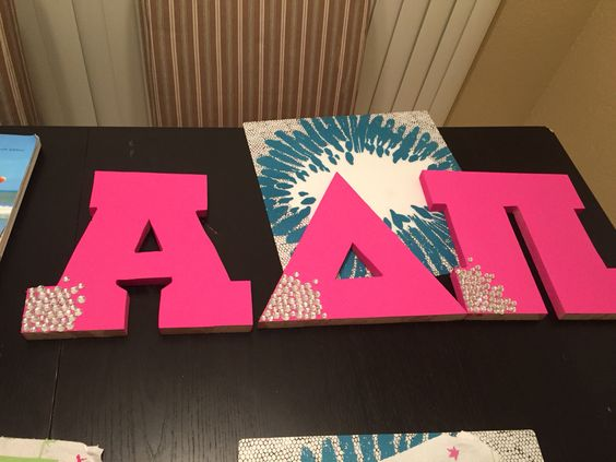large wooden greek letters painted and rhinestoned as an initiation gift adpi letters littlegift
