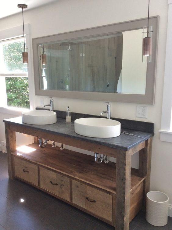 Barn Style Sink : Barn Wood Vanity - Farmhouse Style (Unfinished) #7167 THE TOP, SINKS ...