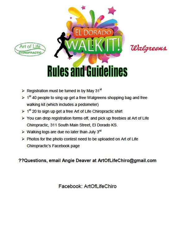 Registration Forms and Walking Log pg 3 El Dorado Walk It!! Free - registration forms