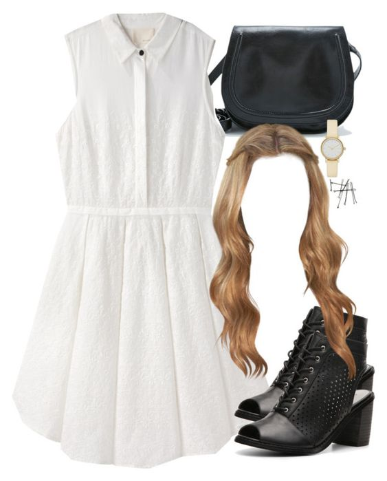 """Lydia Inspired Black and White Outfit"" by veterization ❤ liked on Polyvore featuring Vagabond, Band of Outsiders, Chinese Laundry, Skagen and BOBBY"