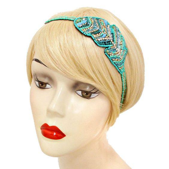 NEW Turquoise Bead & Rhinestone Sequin Stretch Headband USA SELLER