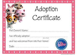 Free Printable Adoption Papers | also made some printable 'Littlest Pet Shop' party masks. Available ...