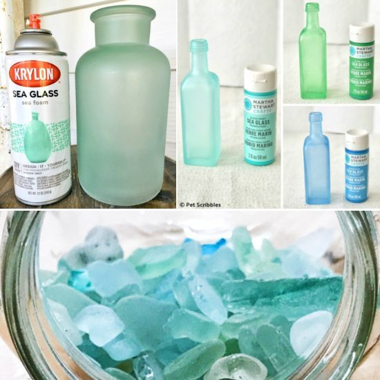 To Get The Frosted Seaglass Look For Glass Bottles Jars And Vases