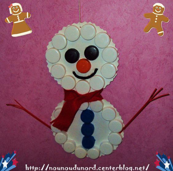 Bonhomme de neige en bouchon no l activit s coloriages g teaux pinterest - Pinterest bonhomme de neige ...