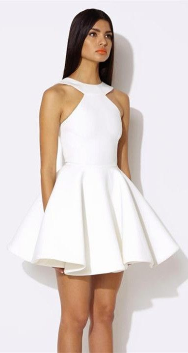 Stylish V-Neck Off-The-Shoulder Solid Color Flounce Chiffon Dress ...