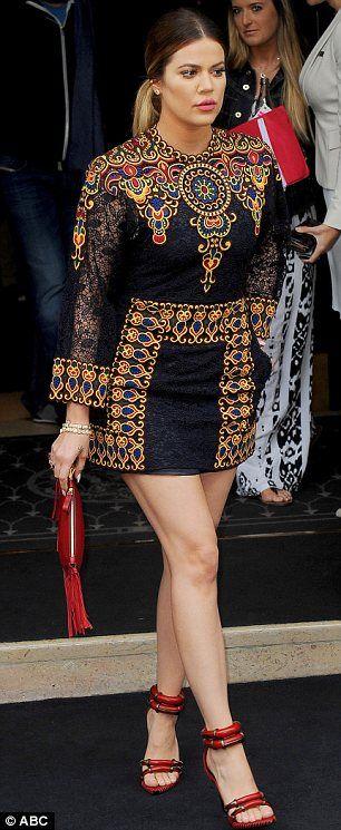 Khloe Kardashian borrowed her mother Kris Jenner's embellished Valentino minidress for sister Kim's pre-wedding brunch in Paris