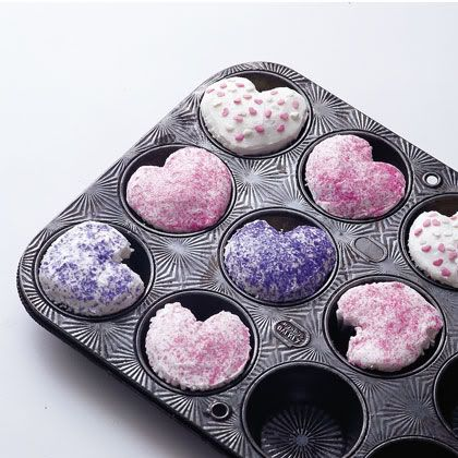 Place a marble in tin for heart shaped cupcakes!
