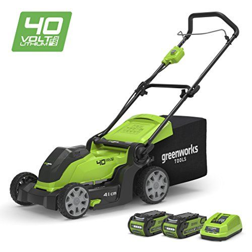 Greenworks 40v Cordless Lawn Mower 41cm 16 With 2x 2ah