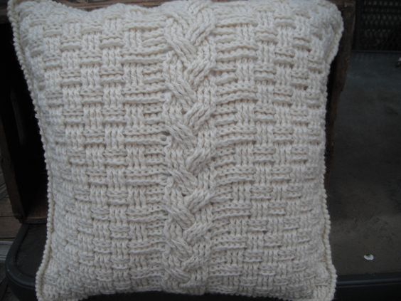 Aran-inspired pillow I made for my MIL for Christmas. Pattern can be purchased from knotsewcute.etsy.com