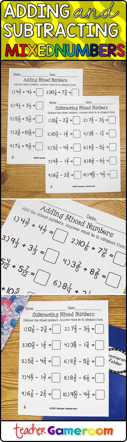 Students Practice Adding And Subtracting Mixed Numbers Questions Include Like And Unlike Denominators An Number Worksheets Adding And Subtracting Subtraction